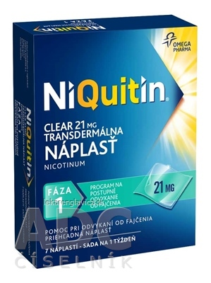NIQUITIN CLEAR 21 MG NÁPLASTE 1X7 KS